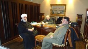 الدكتور النبهان يستقبل الدكتور الشيخ محمودالحوت مدير نهضة العلوم الشرعية والسيد بشار النبهان